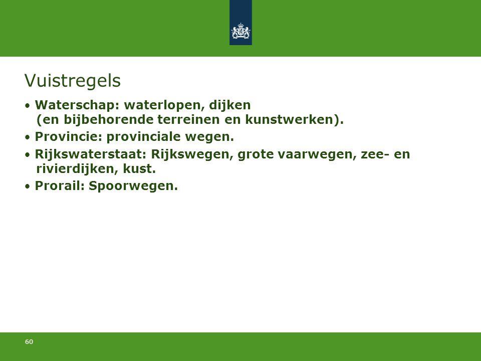 60 Vuistregels Waterschap: waterlopen, dijken (en bijbehorende terreinen en kunstwerken). Provincie: provinciale wegen. Rijkswaterstaat: Rijkswegen, g
