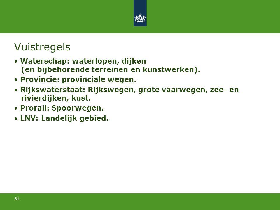 61 Vuistregels Waterschap: waterlopen, dijken (en bijbehorende terreinen en kunstwerken). Provincie: provinciale wegen. Rijkswaterstaat: Rijkswegen, g