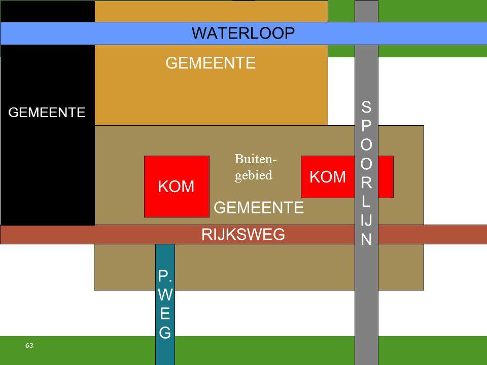 63 GEMEENTE RIJKSWEG S P O R L IJ N P. W E G GEMEENTE WATERLOOP KOM Buiten- gebied