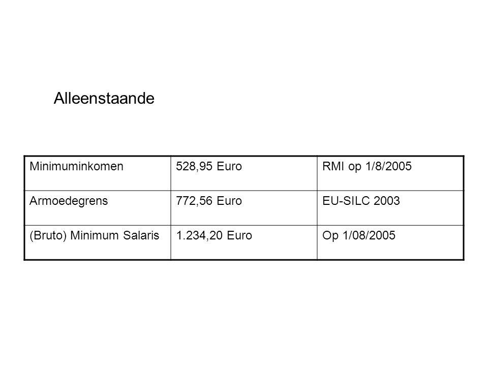 Alleenstaande Minimuminkomen528,95 EuroRMI op 1/8/2005 Armoedegrens772,56 EuroEU-SILC 2003 (Bruto) Minimum Salaris1.234,20 EuroOp 1/08/2005