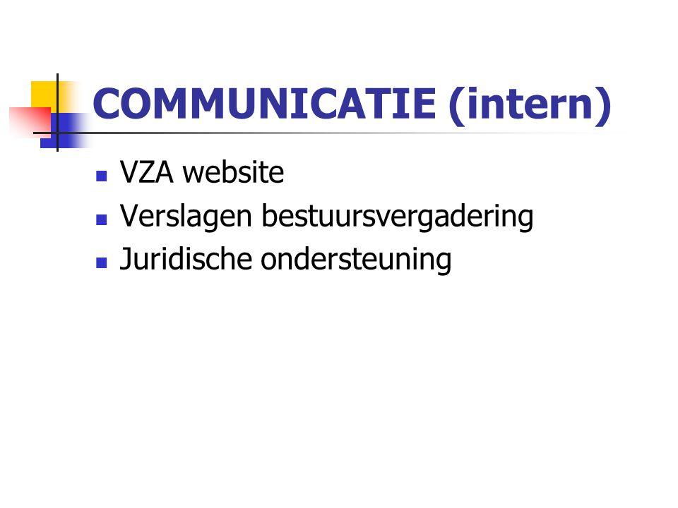 COMMUNICATIE (intern) VZA website Verslagen bestuursvergadering Juridische ondersteuning
