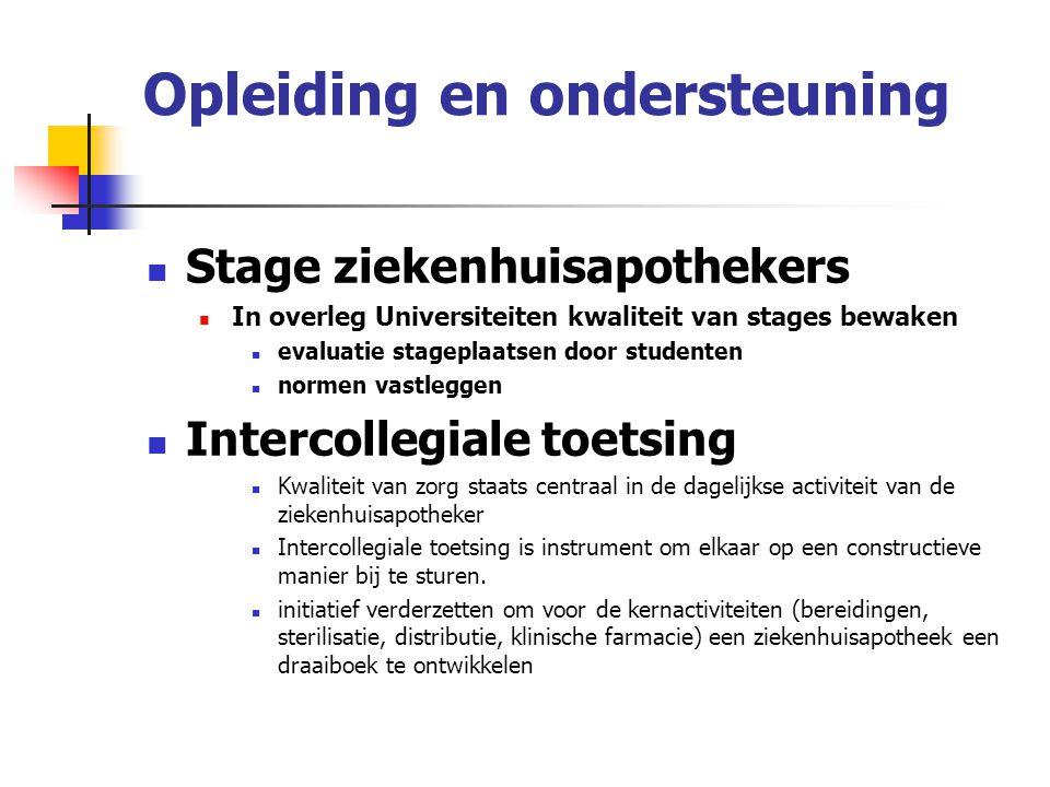 Opleiding en ondersteuning Stage ziekenhuisapothekers In overleg Universiteiten kwaliteit van stages bewaken evaluatie stageplaatsen door studenten no