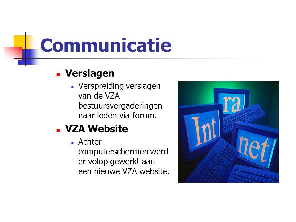 Communicatie Verslagen Verspreiding verslagen van de VZA bestuursvergaderingen naar leden via forum.