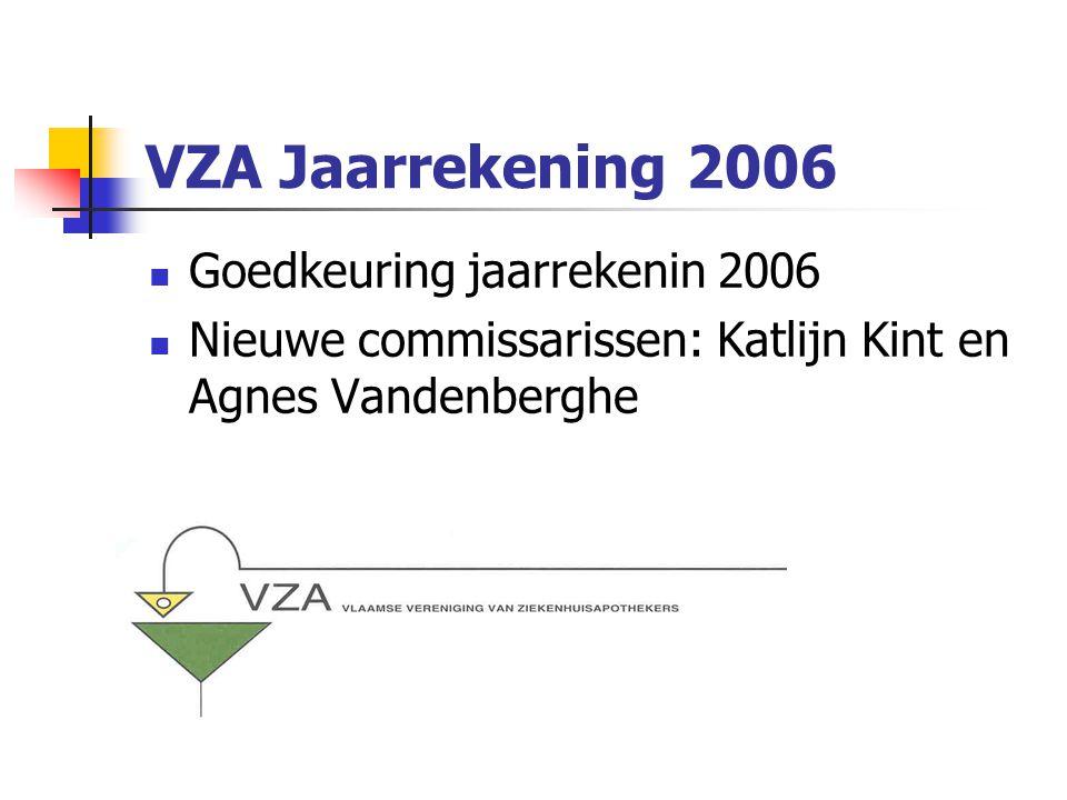 VZA Jaarrekening 2006 Goedkeuring jaarrekenin 2006 Nieuwe commissarissen: Katlijn Kint en Agnes Vandenberghe