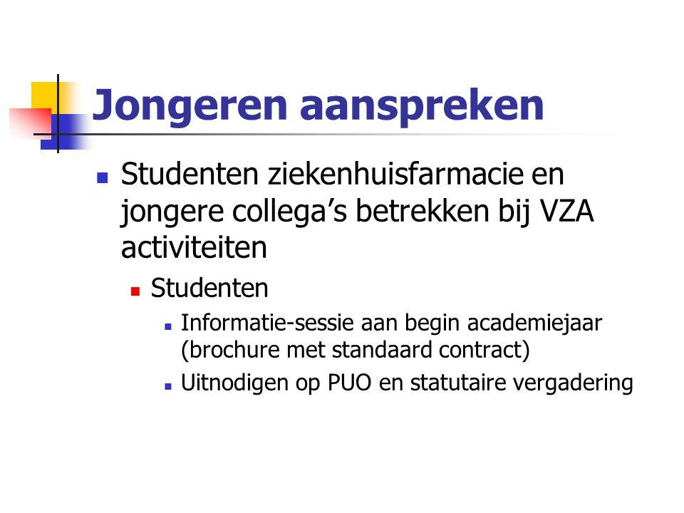 Jongeren aanspreken Studenten ziekenhuisfarmacie en jongere collega's betrekken bij VZA activiteiten Studenten Informatie-sessie aan begin academiejaar (brochure met standaard contract) Uitnodigen op PUO en statutaire vergadering