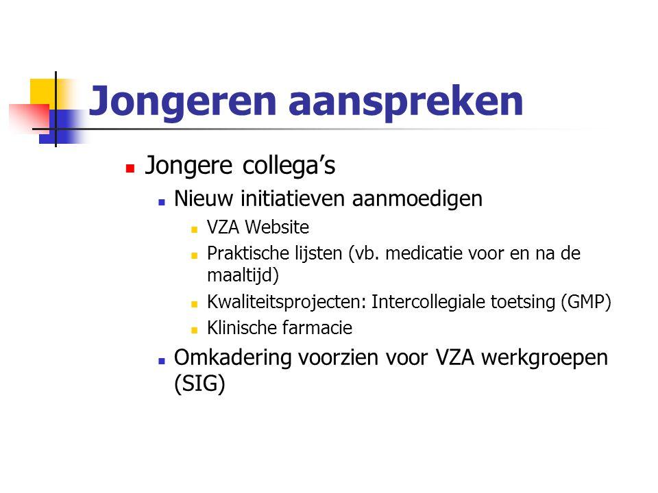 Jongeren aanspreken Jongere collega's Nieuw initiatieven aanmoedigen VZA Website Praktische lijsten (vb.