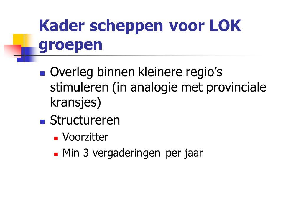 Kader scheppen voor LOK groepen Overleg binnen kleinere regio's stimuleren (in analogie met provinciale kransjes) Structureren Voorzitter Min 3 vergaderingen per jaar