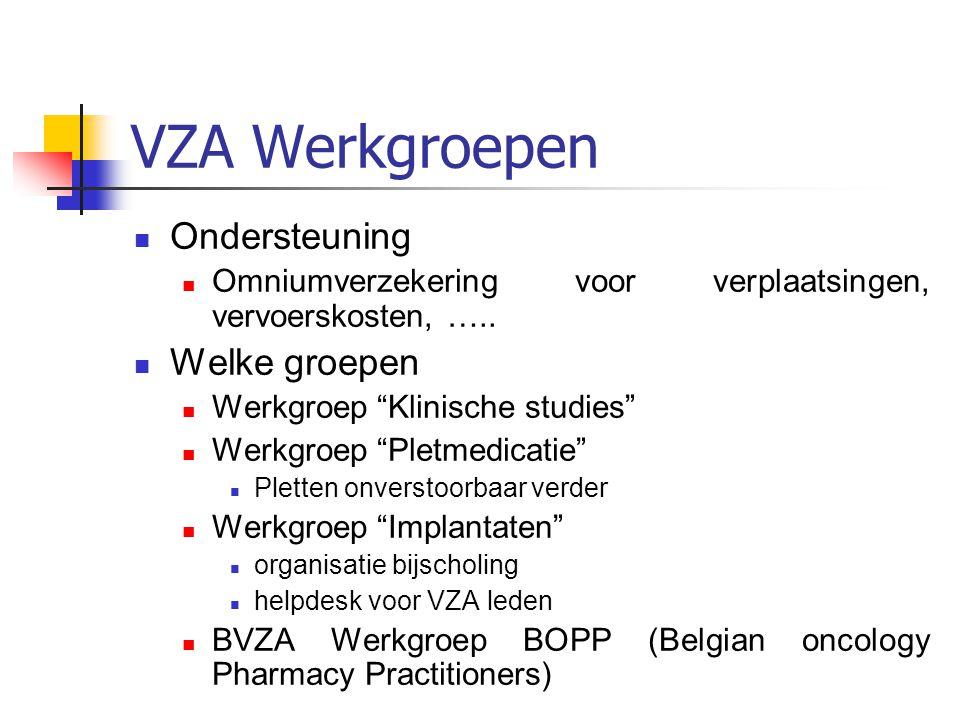 VZA Werkgroepen Ondersteuning Omniumverzekering voor verplaatsingen, vervoerskosten, …..