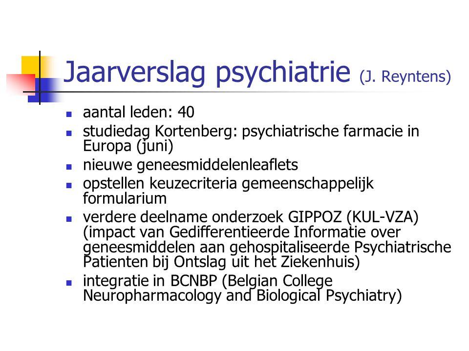 Jaarverslag psychiatrie (J.