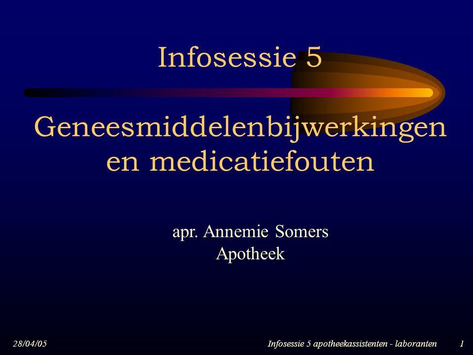 28/04/05Infosessie 5 apotheekassistenten - laboranten1 Infosessie 5 Geneesmiddelenbijwerkingen en medicatiefouten apr. Annemie Somers Apotheek