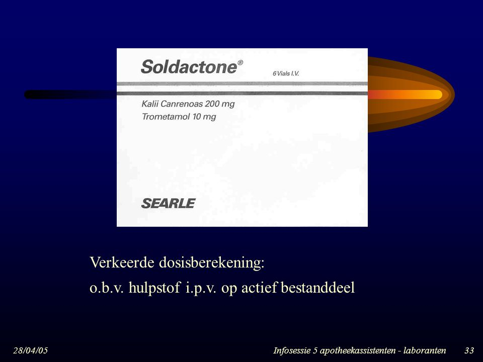 28/04/05Infosessie 5 apotheekassistenten - laboranten33 Verkeerde dosisberekening: o.b.v. hulpstof i.p.v. op actief bestanddeel