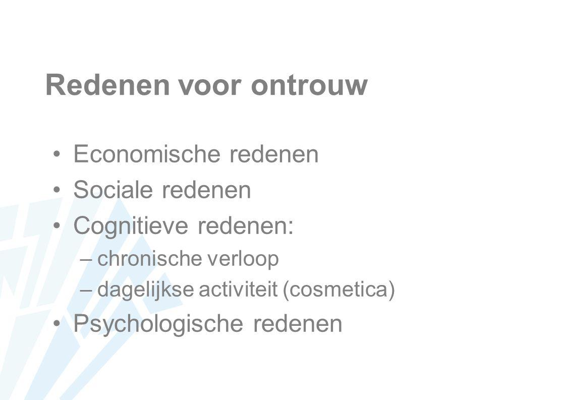 Redenen voor ontrouw Economische redenen Sociale redenen Cognitieve redenen: –chronische verloop –dagelijkse activiteit (cosmetica) Psychologische redenen