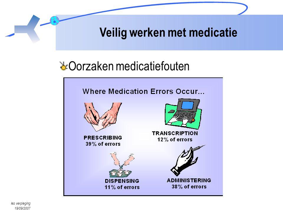 les verpleging 19/09/2007 Veilig werken met medicatie Oorzaken medicatiefouten