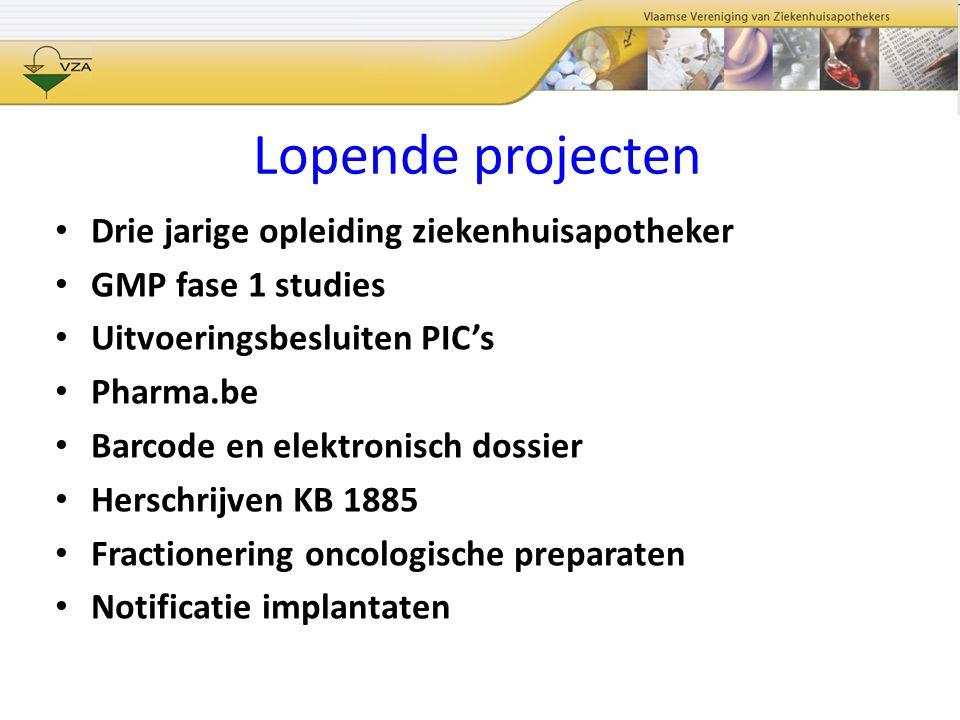Lopende projecten Drie jarige opleiding ziekenhuisapotheker GMP fase 1 studies Uitvoeringsbesluiten PIC's Pharma.be Barcode en elektronisch dossier He