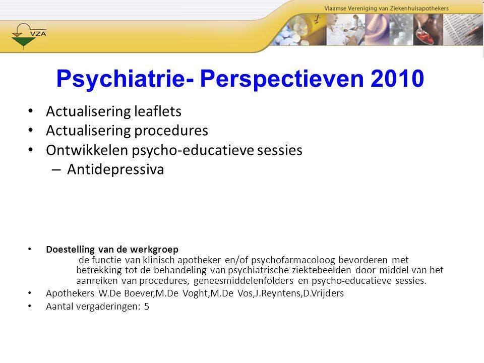 Psychiatrie- Perspectieven 2010 Actualisering leaflets Actualisering procedures Ontwikkelen psycho-educatieve sessies – Antidepressiva Doestelling van