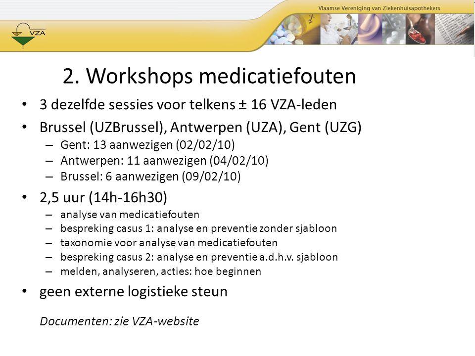 3 dezelfde sessies voor telkens ± 16 VZA-leden Brussel (UZBrussel), Antwerpen (UZA), Gent (UZG) – Gent: 13 aanwezigen (02/02/10) – Antwerpen: 11 aanwe