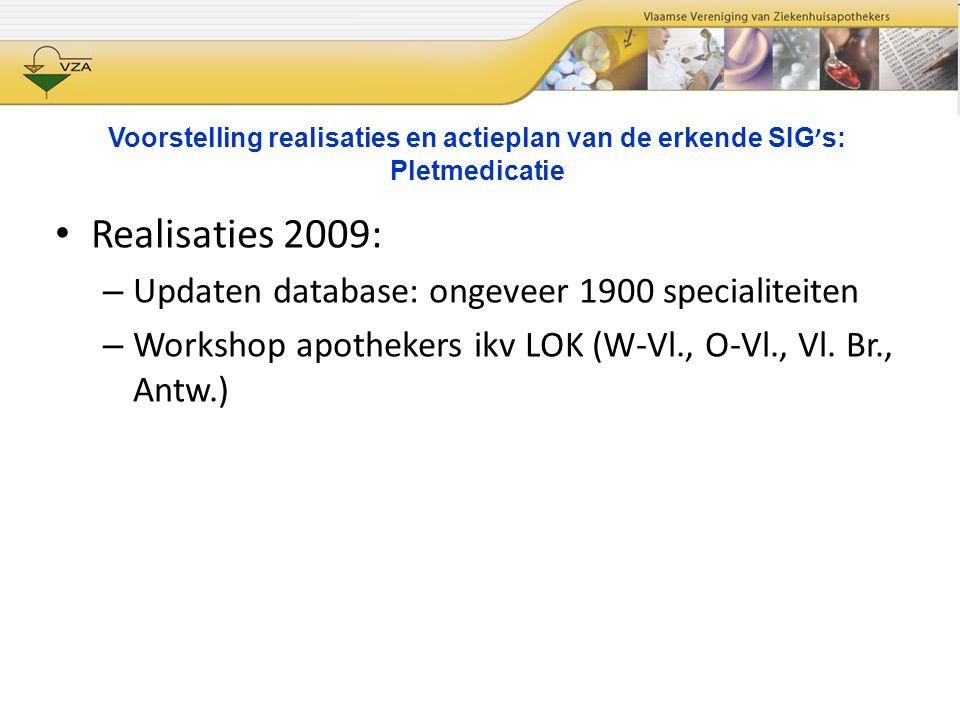 Voorstelling realisaties en actieplan van de erkende SIG ' s: Pletmedicatie Realisaties 2009: – Updaten database: ongeveer 1900 specialiteiten – Works