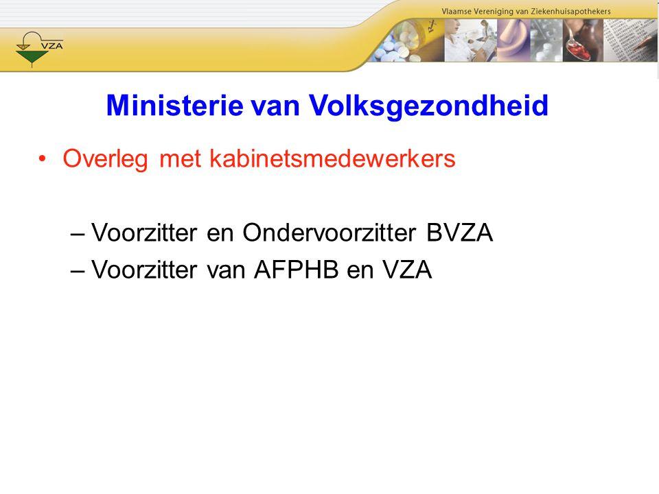 Ministerie van Volksgezondheid Overleg met kabinetsmedewerkers –Voorzitter en Ondervoorzitter BVZA –Voorzitter van AFPHB en VZA
