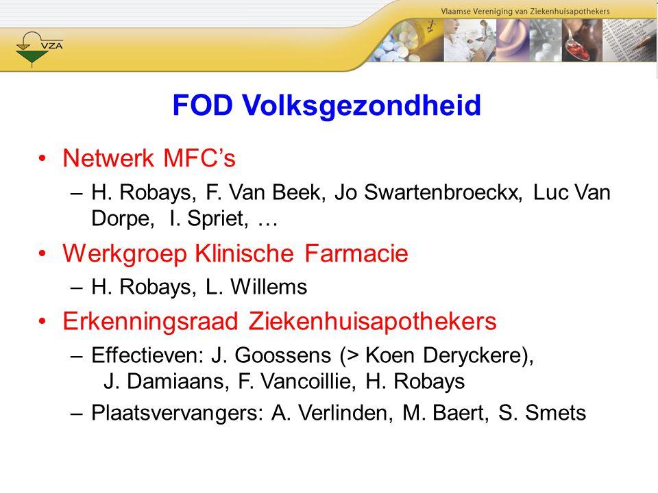 FOD Volksgezondheid Netwerk MFC's –H. Robays, F. Van Beek, Jo Swartenbroeckx, Luc Van Dorpe, I. Spriet, … Werkgroep Klinische Farmacie –H. Robays, L.