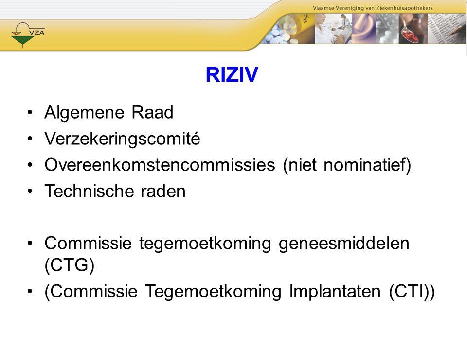 RIZIV Algemene Raad Verzekeringscomité Overeenkomstencommissies (niet nominatief) Technische raden Commissie tegemoetkoming geneesmiddelen (CTG) (Comm
