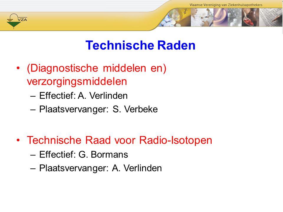 Technische Raden (Diagnostische middelen en) verzorgingsmiddelen –Effectief: A. Verlinden –Plaatsvervanger: S. Verbeke Technische Raad voor Radio-Isot