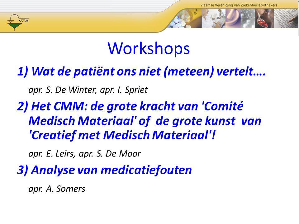 Workshops 1) Wat de patiënt ons niet (meteen) vertelt…. apr. S. De Winter, apr. I. Spriet 2) Het CMM: de grote kracht van 'Comité Medisch Materiaal' o