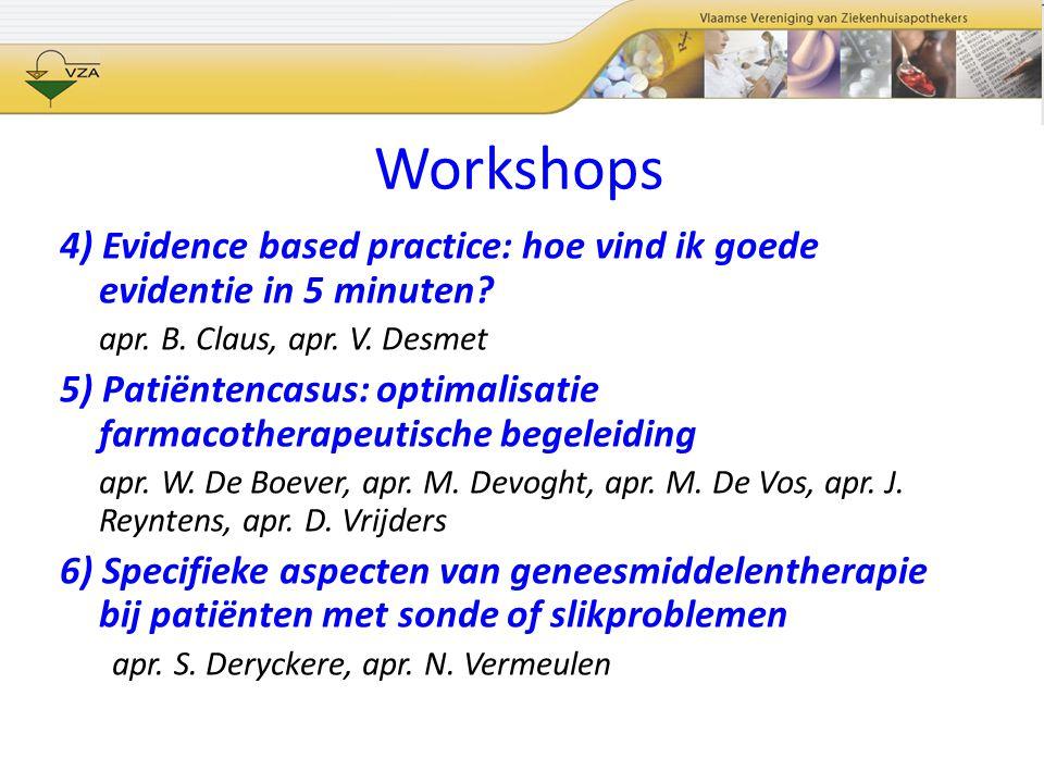 Workshops 4) Evidence based practice: hoe vind ik goede evidentie in 5 minuten? apr. B. Claus, apr. V. Desmet 5) Patiëntencasus: optimalisatie farmaco
