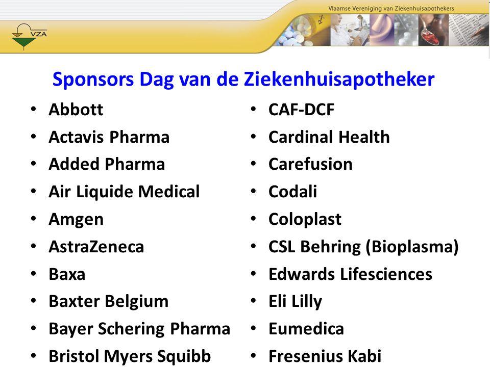 Sponsors Dag van de Ziekenhuisapotheker Abbott Actavis Pharma Added Pharma Air Liquide Medical Amgen AstraZeneca Baxa Baxter Belgium Bayer Schering Ph