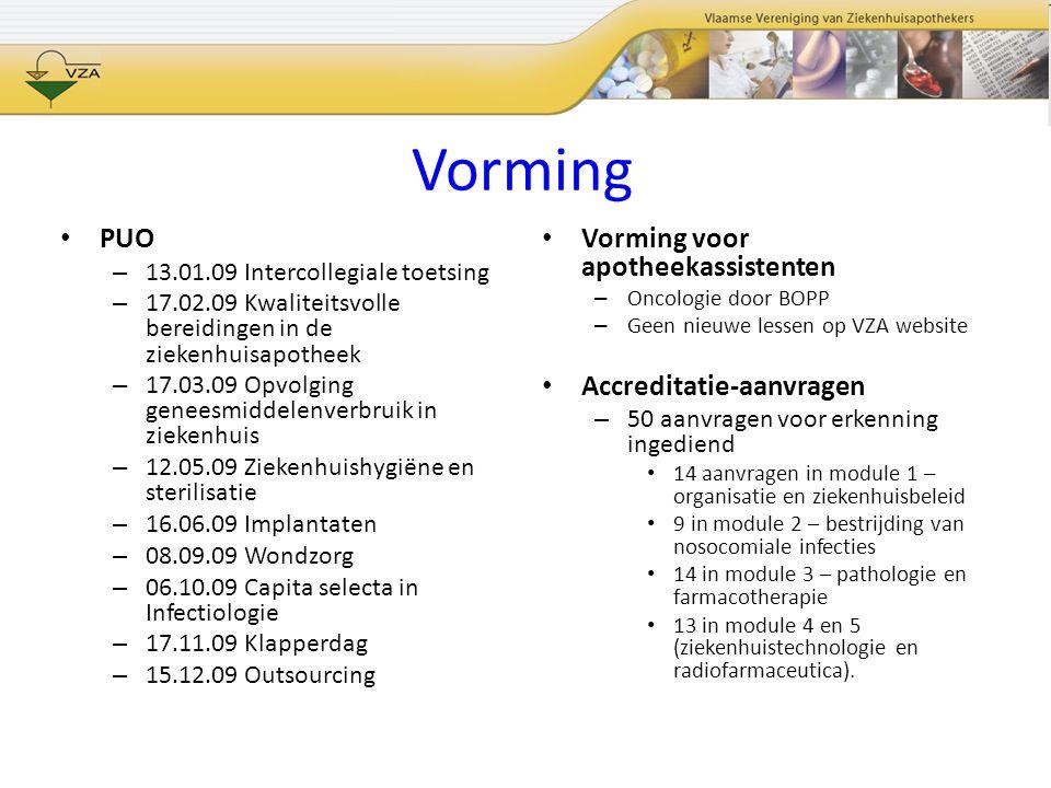 Vorming PUO – 13.01.09 Intercollegiale toetsing – 17.02.09 Kwaliteitsvolle bereidingen in de ziekenhuisapotheek – 17.03.09 Opvolging geneesmiddelenver