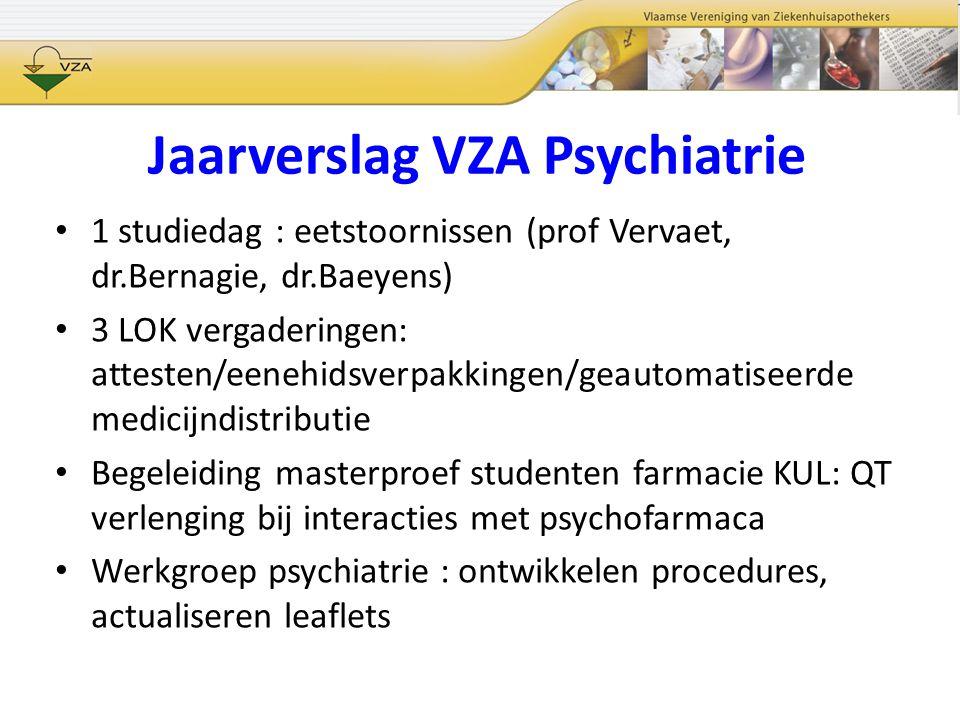 Jaarverslag VZA Psychiatrie 1 studiedag : eetstoornissen (prof Vervaet, dr.Bernagie, dr.Baeyens) 3 LOK vergaderingen: attesten/eenehidsverpakkingen/ge