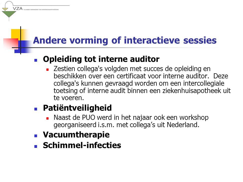 Andere vorming of interactieve sessies Opleiding tot interne auditor Zestien collega s volgden met succes de opleiding en beschikken over een certificaat voor interne auditor.