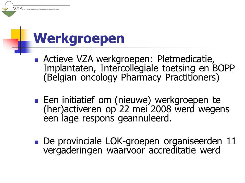 Werkgroepen Actieve VZA werkgroepen: Pletmedicatie, Implantaten, Intercollegiale toetsing en BOPP (Belgian oncology Pharmacy Practitioners) Een initiatief om (nieuwe) werkgroepen te (her)activeren op 22 mei 2008 werd wegens een lage respons geannuleerd.