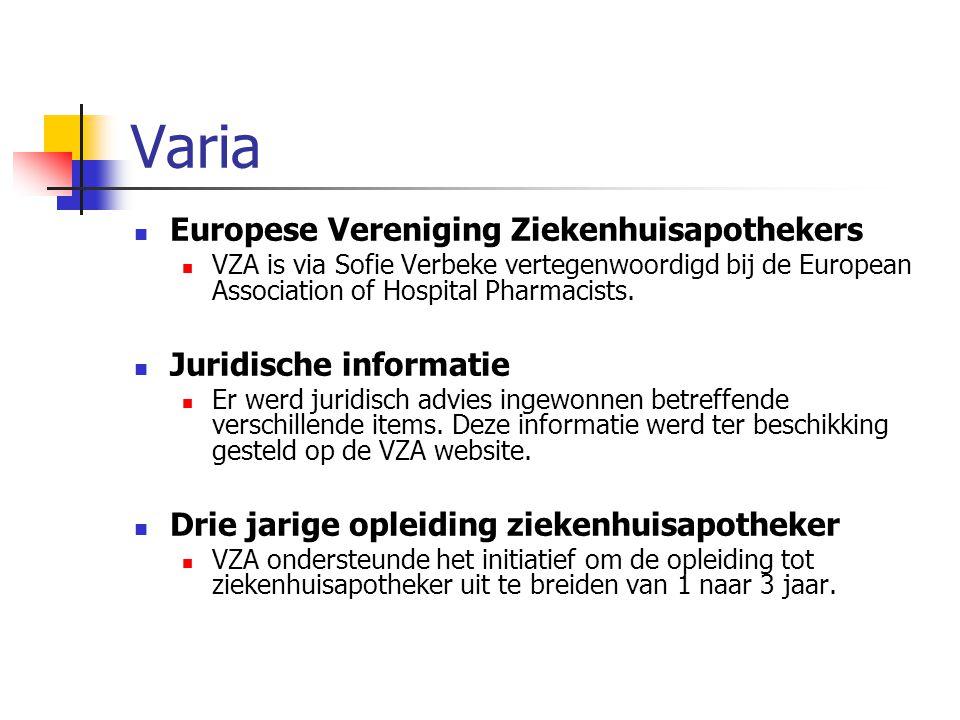 Varia Europese Vereniging Ziekenhuisapothekers VZA is via Sofie Verbeke vertegenwoordigd bij de European Association of Hospital Pharmacists.