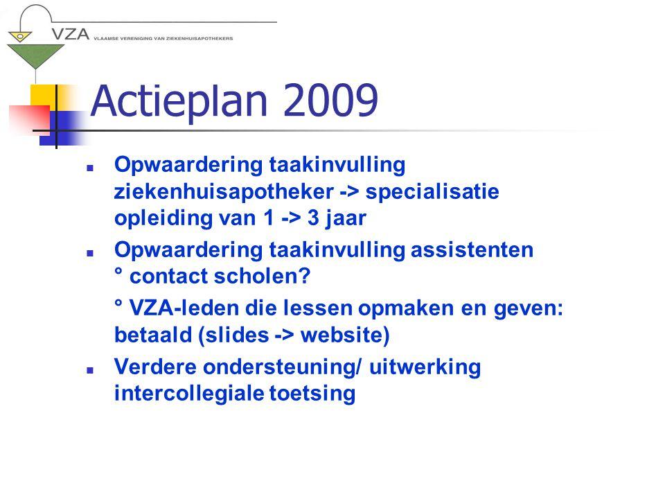 Actieplan 2009 Opwaardering taakinvulling ziekenhuisapotheker -> specialisatie opleiding van 1 -> 3 jaar Opwaardering taakinvulling assistenten ° contact scholen.