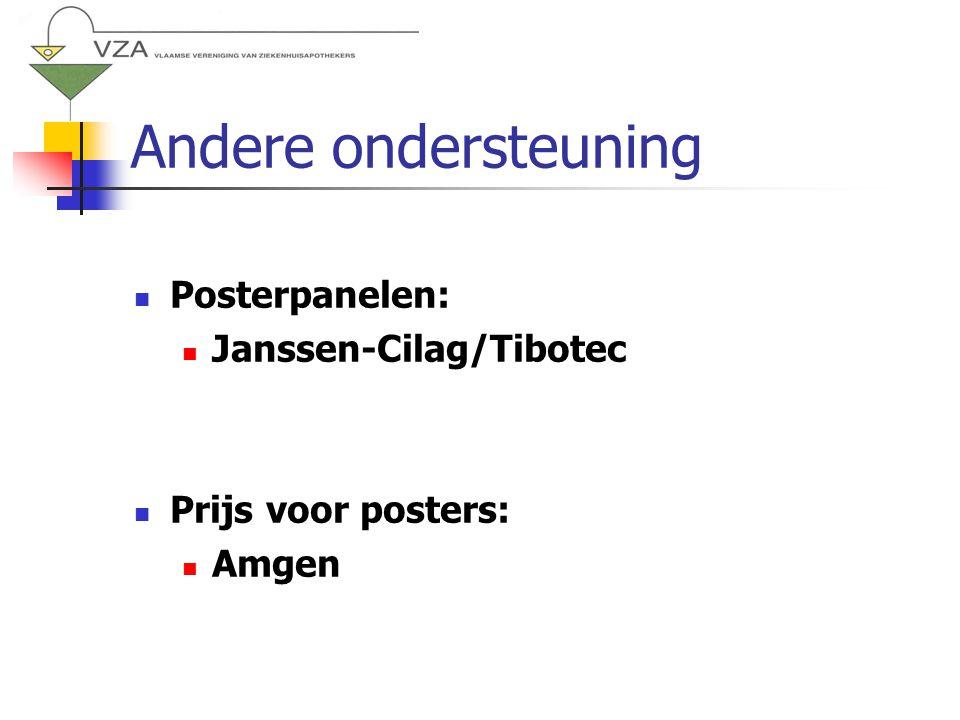 Andere ondersteuning Posterpanelen: Janssen-Cilag/Tibotec Prijs voor posters: Amgen
