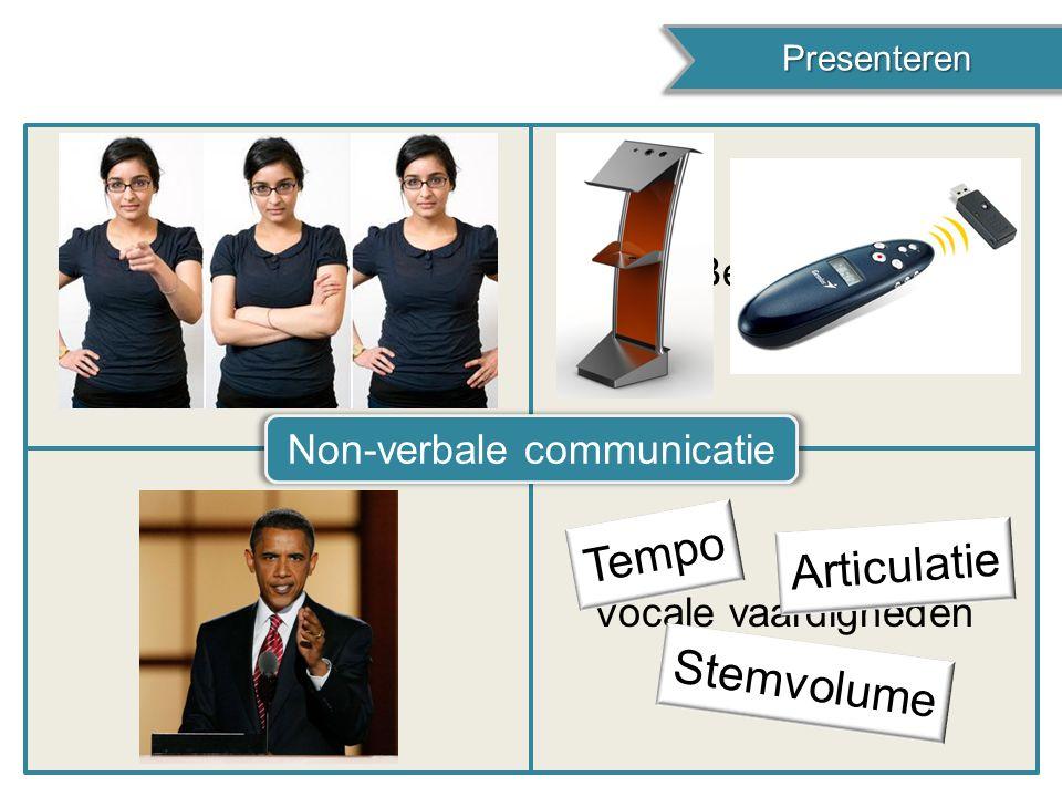 Presenteren Presenteren LichaamshoudingBeweging Oogcontact Non-verbale communicatie Vocale vaardigheden Tempo Articulatie Stemvolume