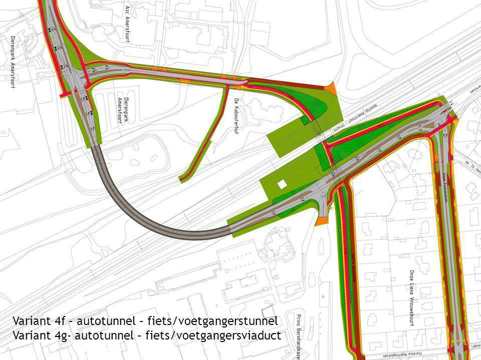 Variant 4f – autotunnel – fiets/voetgangerstunnel Variant 4g- autotunnel – fiets/voetgangersviaduct