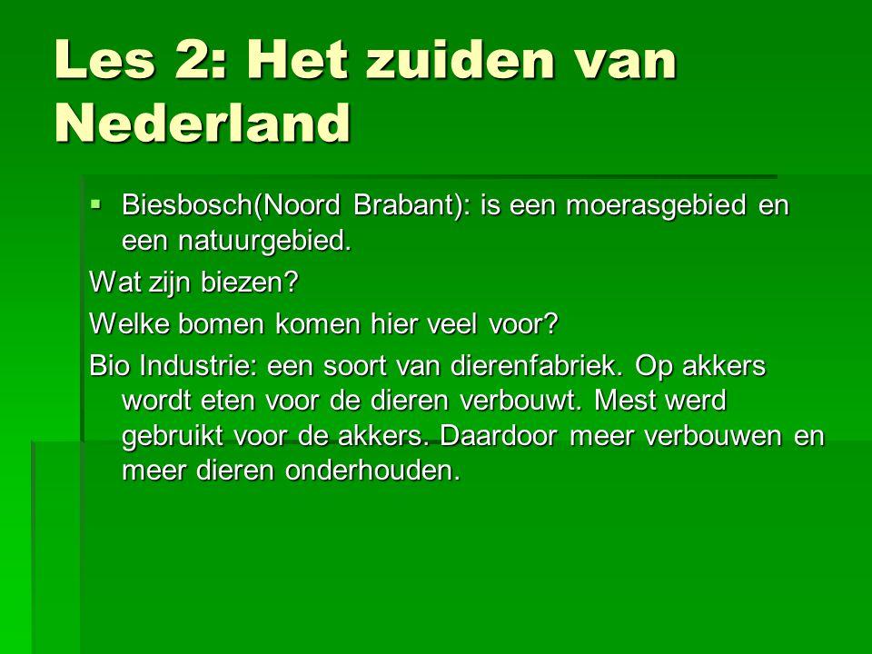 Les 2: Het zuiden van Nederland  Biesbosch(Noord Brabant): is een moerasgebied en een natuurgebied.