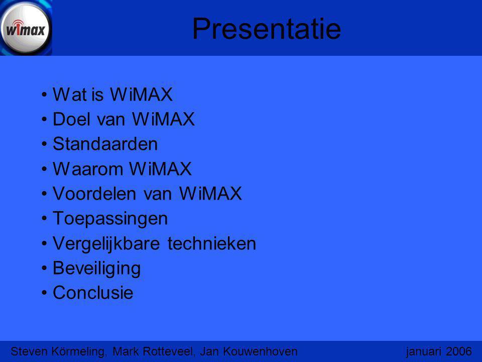 WiMAX Draadloos netwerk met groot bereik Vervanging van kabels naar de locatie Maakt gebruik van 3,5ghz band WiMAX heeft geen line of sight nodig Datasnelheid tot tot 70 Mbit/s (gedeeld) Proefprojecten Mesh-Netwerk Steven Körmeling, Mark Rotteveel, Jan Kouwenhoven januari 2006