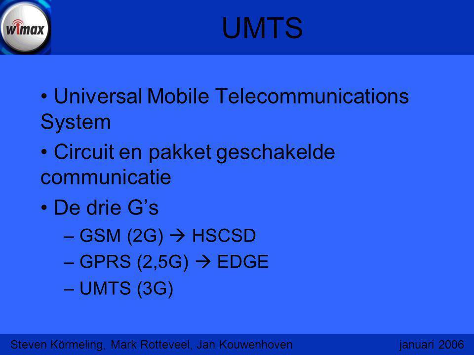 UMTS Universal Mobile Telecommunications System Circuit en pakket geschakelde communicatie De drie G's – GSM (2G)  HSCSD – GPRS (2,5G)  EDGE – UMTS