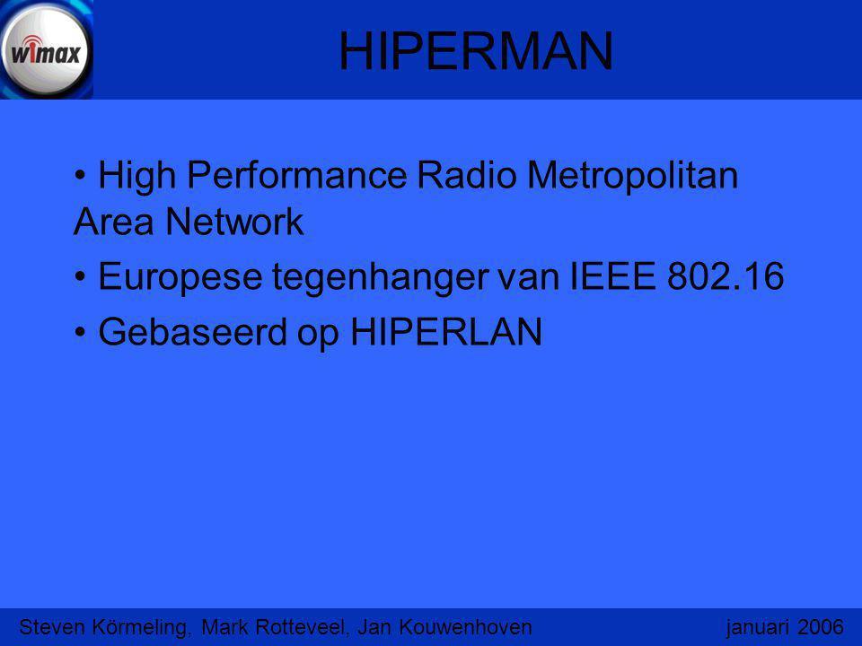 HIPERMAN High Performance Radio Metropolitan Area Network Europese tegenhanger van IEEE 802.16 Gebaseerd op HIPERLAN Steven Körmeling, Mark Rotteveel,