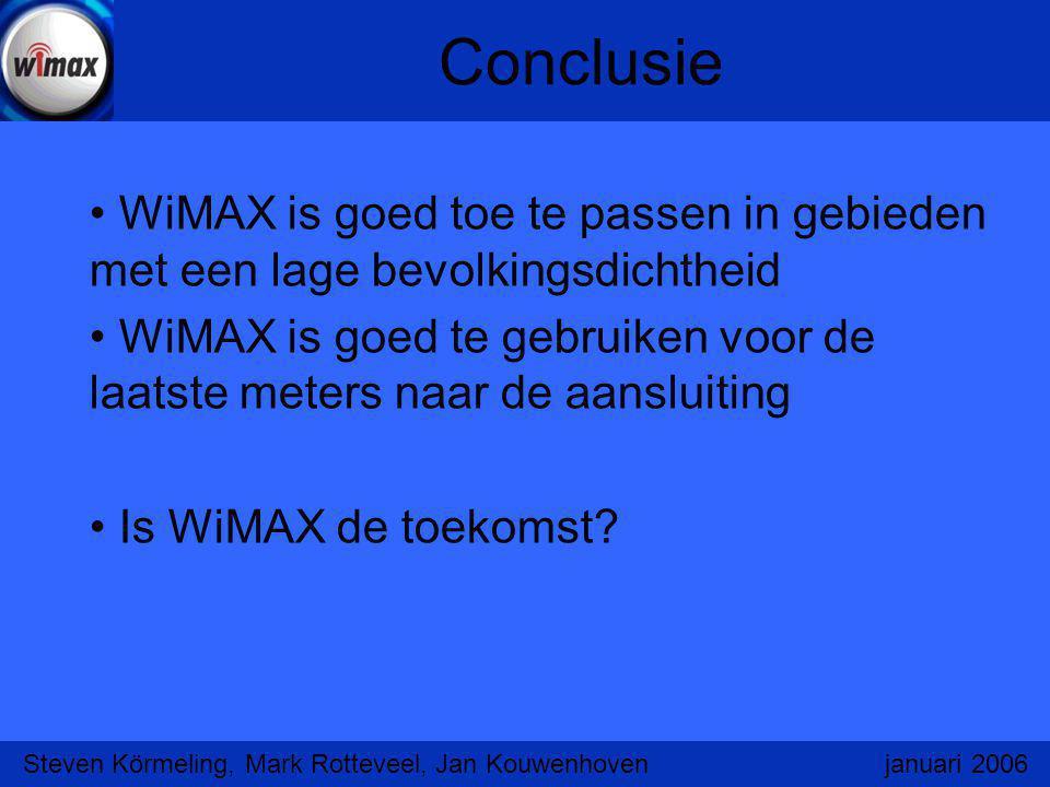 Conclusie WiMAX is goed toe te passen in gebieden met een lage bevolkingsdichtheid WiMAX is goed te gebruiken voor de laatste meters naar de aansluiti