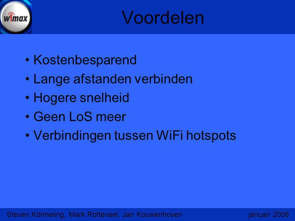 Voordelen Kostenbesparend Lange afstanden verbinden Hogere snelheid Geen LoS meer Verbindingen tussen WiFi hotspots Steven Körmeling, Mark Rotteveel,