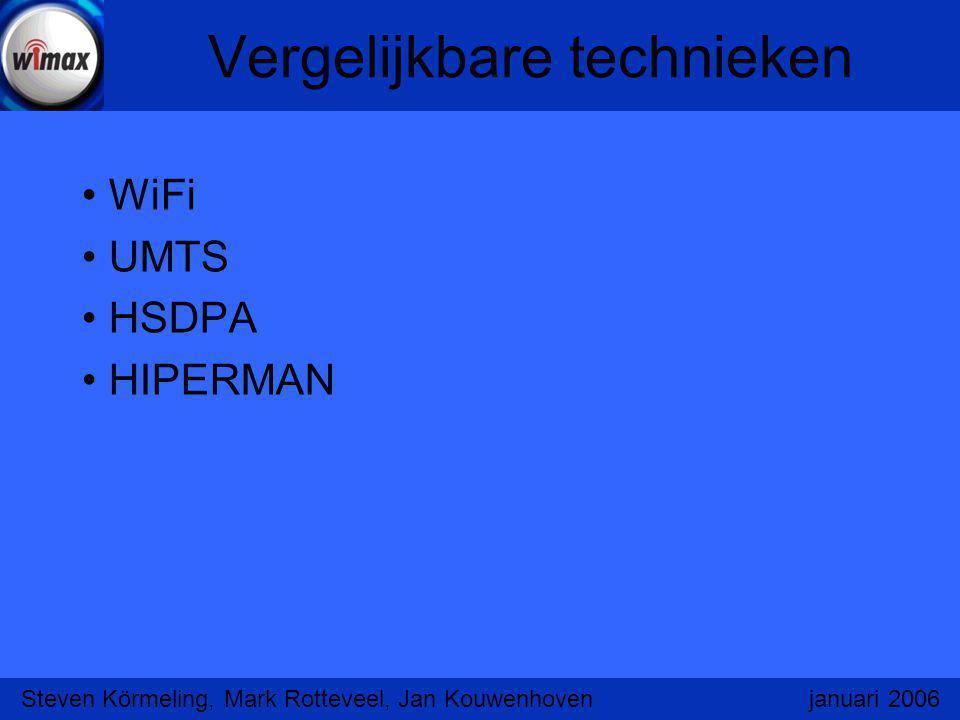 Vergelijkbare technieken WiFi UMTS HSDPA HIPERMAN Steven Körmeling, Mark Rotteveel, Jan Kouwenhoven januari 2006