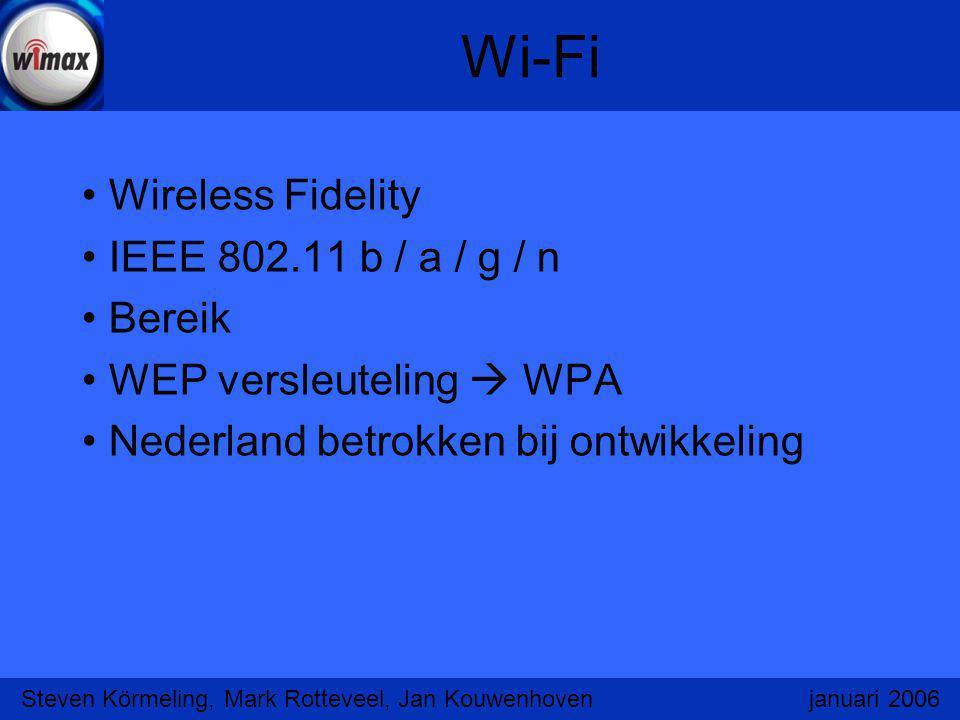 Wi-Fi Wireless Fidelity IEEE 802.11 b / a / g / n Bereik WEP versleuteling  WPA Nederland betrokken bij ontwikkeling Steven Körmeling, Mark Rotteveel