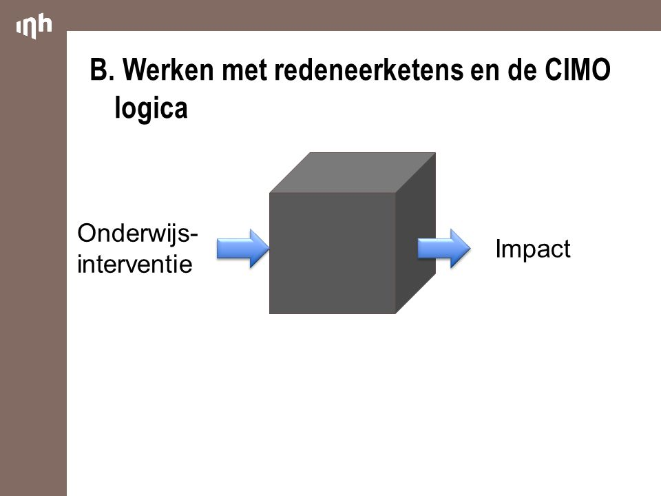 Impact Onderwijs- interventie B.Werken met redeneerketens en de CIMO logica