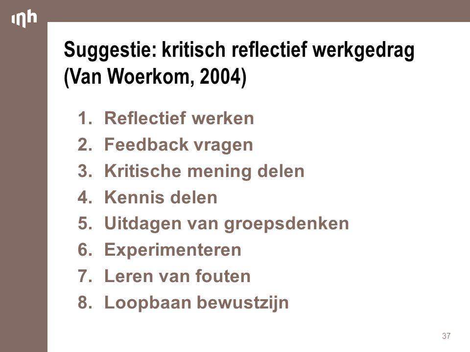 Suggestie: kritisch reflectief werkgedrag (Van Woerkom, 2004) 1.Reflectief werken 2.Feedback vragen 3.Kritische mening delen 4.Kennis delen 5.Uitdagen