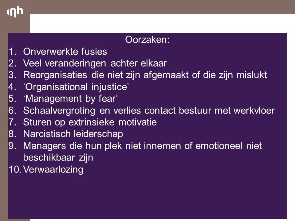 Oorzaken: 1.Onverwerkte fusies 2.Veel veranderingen achter elkaar 3.Reorganisaties die niet zijn afgemaakt of die zijn mislukt 4.'Organisational injus
