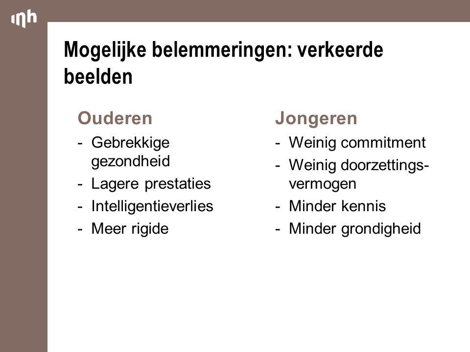 Jongeren  Weinig commitment  Weinig doorzettings- vermogen  Minder kennis  Minder grondigheid Ouderen  Gebrekkige gezondheid  Lagere prestaties