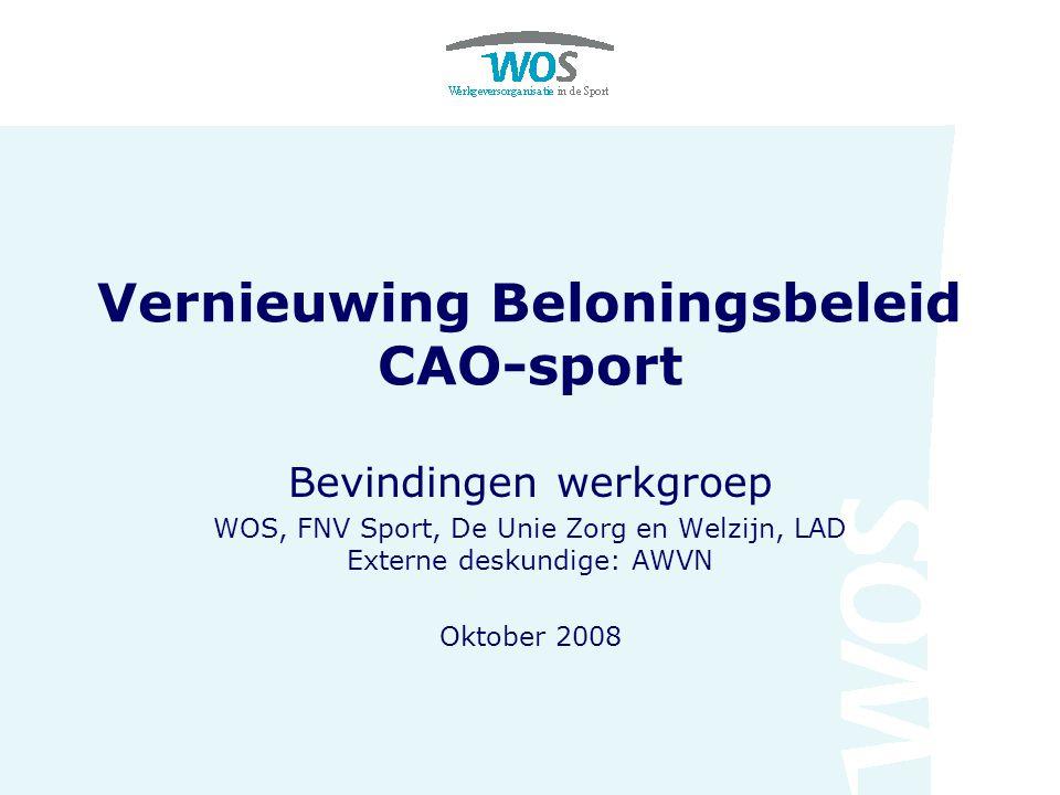 Vernieuwing Beloningsbeleid CAO-sport Bevindingen werkgroep WOS, FNV Sport, De Unie Zorg en Welzijn, LAD Externe deskundige: AWVN Oktober 2008
